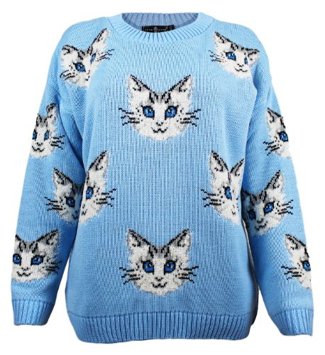 Stile Divaa lavorato a maglia da donna gatto Jumper Sky Blue White Cat