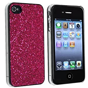 eForCity Hot Pink Bling Glitter Hard Case Cover Compatible with iPhone® 4 4G