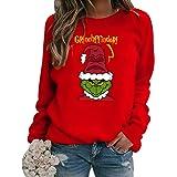 Felpa Grinch, Unisex Felpe di Natale Grinch e Cucciolo 3D Carino Felpe con Cappuccio Pullover Streetwear Autunno Inverno Moda