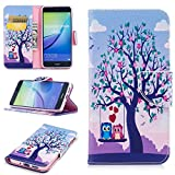 Tasche Hüllen Schutzhülle - case cover Muster drucken Stand mit Magnet-Baum mit blühenden Blumen und zwei Eulen für Huawei P10 Lite