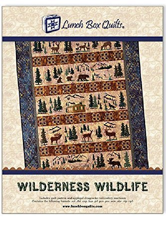 Lunch Box Quilts Wilderness Wildlife Applique Embroidery Quilt Pattern with Redemption Code and Backup CD for use with Embroidery Sewing Machines by Lunch Box Quilts