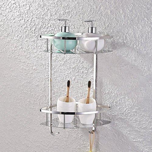 Kes mensole per doccia triangolare bagno,acciaio inox,2-tier,cromo,a2220b