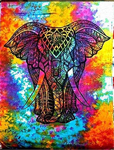 Tapiz Raajsee para colgar en la pared en blanco y negro, arte bohemio, hippie, étnico, decoración de dormitorio, alfombrilla para yoga, toalla para playa, 140 x 220 cm, algodón, Multi Elephant, 54 * 84