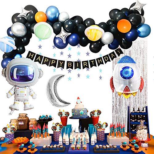 MMTX Festoni Compleanno 1 Anno Primo Palloncini Compleanno Bimbo di Happy Birthday Palloncini Lettere per Festa Nello Spazio(61pcs)