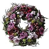 SIDCO Deko Kranz Lila Rose Türkranz Blumenkranz Blütenkranz Wandkranz Wandschmuck