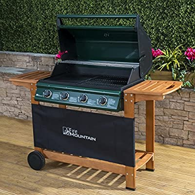 Fire Mountain Elbrus 4 Burner Gas Barbecue in Powder-Coated Steel and Wood - Temperature Gauge, Piezo Ignition, Drip Tray, Wooden Shelves, Free Propane Regulator & Hose from Fire Mountain