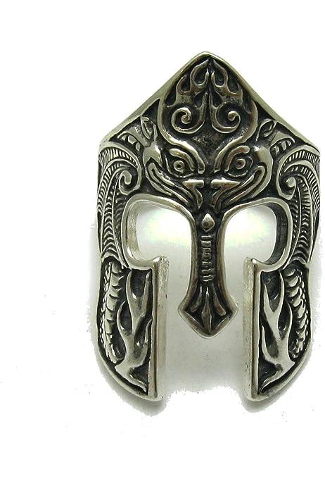 Anillo de plata de ley sólido 925 Casco espartano R001733: Amazon.es: Handmade
