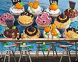 BZDHWWH Süßigkeiten Süßigkeiten Kuchen Halloween Cupcake Essen 3D Tapete Für Wohnzimmer Dessert-Shop Küche Restaurant Café Bar,140cm(W) x 70.5cm(H)