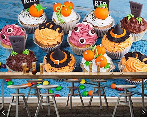 BZDHWWH Süßigkeiten Süßigkeiten Kuchen Halloween Cupcake Essen 3D Tapete Für Wohnzimmer Dessert-Shop Küche Restaurant Café Bar,280cm(W) x 180cm(H)