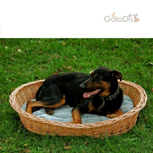 7-100-5 GalaDis Großer Hundekorb aus Weide mit weichem Hundekissen, robustes Hundebett, 100 cm