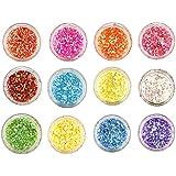 Beauté Secrets 12 Boxes Nail Flakies Sequins Colorful Round Glitter Paillette Manicure Nail Art Decoration