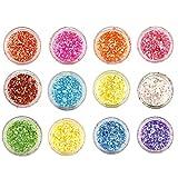 #3: Beauté Secrets 12 Boxes Nail Flakies Sequins Colorful Round Glitter Paillette Manicure Nail Art Decoration