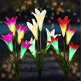 3 Piezas Luces Solares de Flores al Aire Libre, 4 Cabezas Cambia de Color Lámparas LED Luces Solares de Lirio, Luz de Jardín
