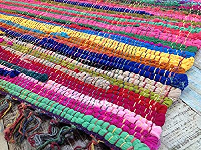 Fair Trade Second Nature Fringed Multi Coloured Chindi Rag Rug Mat - Choose from fourteen sizes! produced by Second Nature Online - quick delivery from UK.