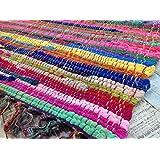 Hermosa alfombra multicolor Chindi Rag, de Second Nature. Comercio justo, algodón, Multi Colours, 60cm x 90cm