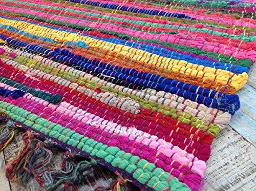 Fair Trade Second Nature Fransen Jahre Chindi Flickenteppich, mehrfarbig,-Menü von vierzehn Größen erhältlich!, baumwolle, Multi Colours, 60 x 90 cm (Rag Rug)