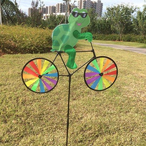 Senoow Wind Spinner, Tier auf Bike 3D Colorful Wheel Stand Decor Windmühle für Farm Yard Rasen (Schildkröte) (Schildkröten Valentines Tag)