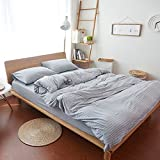 Household 100% Cotton Jersey Knit Duvet Cover Light Weight,Comfortable,Extremely Durable Includes 2 Pillowcase (Stripe Grey, Queen)