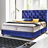 Boxspringbett 180x200 Royalblau Zürich Hotelbett Doppelbett Matratze Topper Modern Luxus Bett (180x200cm, Royalblau)