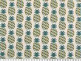 Zanderino ab 1m: Baumwolldruck, Ananas, Natur-Aqua-türkis, 160cm breit