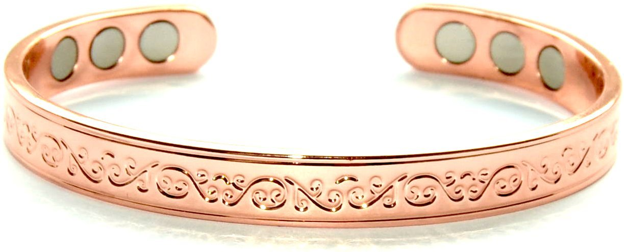 Healing copper bangle bracelet magnetic bio therapy for for How does magnetic jewelry work