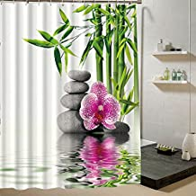 Generic MG035, 180x 200: bambú agua fuente jardín japonés de flores Zen Spa Relajante Juego de cortina de ducha de tela para baño decor producto