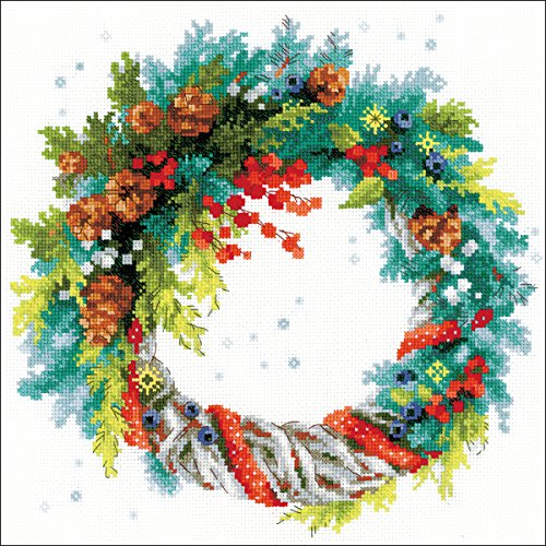 Riolis Wreath with Blue Spruce Cross Stitch kit, Baumwolle, Multi-Color, 30 x 30 x 0,1 cm -