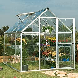 Palram Applications Harmony Silver Aluminum 6'x8' Greenhouse, Polycarbonate Crystal Clear Glazing with Base D: 248 cm x W: 185 cm x H: 209 cm