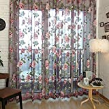 LUFA Romantisches Blumen Tulle Voile Fenster Vorhang Tuch Panel bloße Schal Valanzen Viola&100*200cm