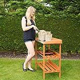 Relaxdays Pflanztisch, Holz, Metallplatte, 3 Ebenen, Arbeitsplatte Gewächshaus, HBT: 87,5 x 91,8 x 41,5 cm, orange