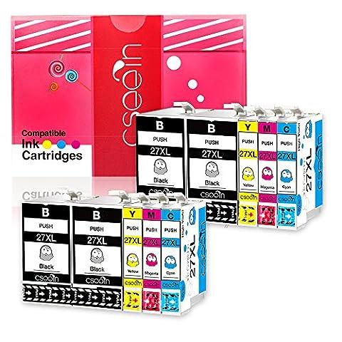 Cseein 10x Replacement 27XL Cartouches d'encre Grande Capacité Compatible avec Epson Workforce WF 3620 3640 7610 7620 7110 Imprimante (4 Noir 2 Cyan 2 Magenta 2 Jaune)