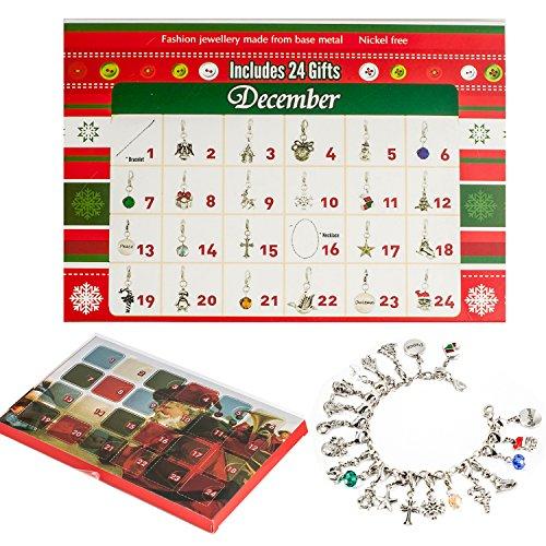 Adventskalender kinder DIY Armband Halskette-Set mit 22 Charms Fashion Jewelry Countdown Advent Kalender für Kinder Weihnachten Geschenke