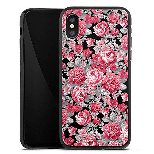 Apple iPhone X Silikon Hülle Case Schutzhülle Blumen Bunt blumenmuster Silikon Case schwarz