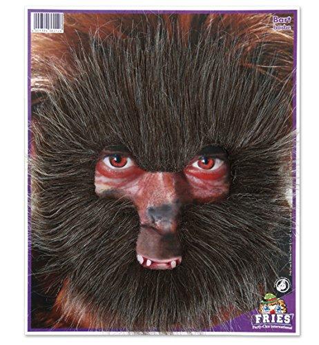 Bart Werwolf braun HALLOWEEN Wolf Haarmaske mit Gummiband Horror Zombie Hexe Dracula Fasching - Scary Halloween-werwolf