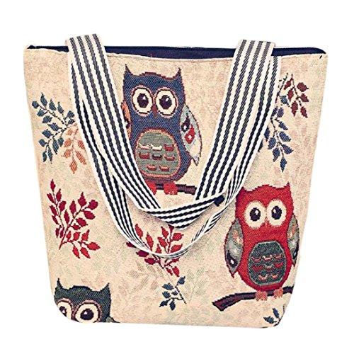 Retro Canvas Handtasche HARRYSTORE Damen Owl Printed Canvas Cartoon Handtasche Schultertasche Umhängetasche Damen Satchel Tote Bags (D) (Werden & D-leder-satchel)
