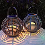 2er Set LED Solar Laterne Gartendeko Rattan Optik graublau beige