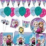 Nordlicht Frozen Eiskönigin Anna & ELSA 66 Teile Partyset für 6 Kinder Teller Becher Servietten Tischdecke Tüten Einladungen Halme Girlande Ballons