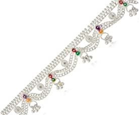 AanyaCentric Indian Traditional Ethnic Fancy Foot Jewellery Silver Plated White Metal Ghungroo Painjan Payal Imitation Anklets Pair for Women & Girls