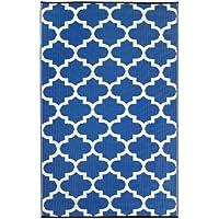 Fab Hab - Tangier - Alfombra para Exterior e Interior - Azul Regata y Blanco - (120 cm x 180 cm)
