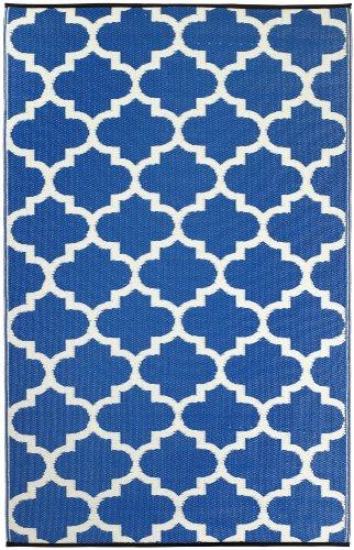 Fab Hab - Tangier - Alfombra para Exterior e Interior - Azul Regata y Blanco - (180 cm x 270 cm)