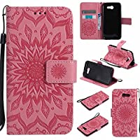 Samsung Galaxy J3 2017 Case / Samsung Galaxy J3 Prime Case, Dfly Premium Soft PU Leather Embossed Mandala Design Kickstand Card Holder Slot Slim Flip Protective Wallet Cover for Samsung Galaxy J3 2017 / J3 Prime, Pink