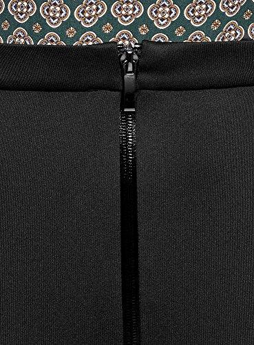 oodji Collection Damen Jersey-Rock mit Reißverschluss Schwarz (2900N)