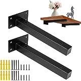 8 inch/20 cm industriële zwarte dikker drijvende plank beugels retro wandmontage voor DIY of aangepaste wandplank plank onder
