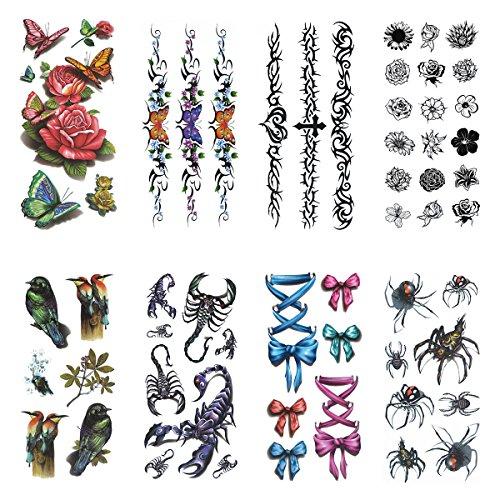 cokohappy-temporales-tatuaje-8-diferente-hoja-arana-escorpion-flor-flower-mariposa-butterfly