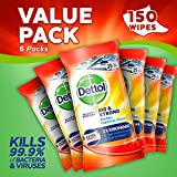 Dettol Kitchen Cleaning Wipes Bulk Big and Strong, 6 x 25 Wipes, 150 Wipes Total