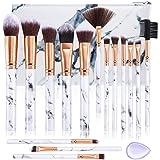 Brochas de maquillaje DUAIU 15Pcs Set de Brochas Maquillaje Profesional Premium Sintético Pinceles Sombra de ojos Corrector C