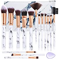 Make Up Brushes DUAIU 15Pcs Professional Premium Synthetic Eyeshadow Concealer Eyebrow Powder Cream Liquid Blending with Marble Cosmetic Bag