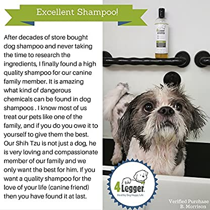 4-Legger® Certified Organic Dog Shampoo - All Natural, Hypoallergenic with Aloe - Lemongrass, Biodegradable, Non-Toxic… 8