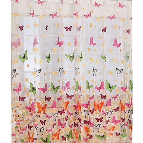 Tenda velata blufied, 177,8 x 210,8 cm, con stampa di farfalle e fiori, in chiffon tulle, per porta finestra, pannello del balcone, drappo per soggiorno o camera da letto
