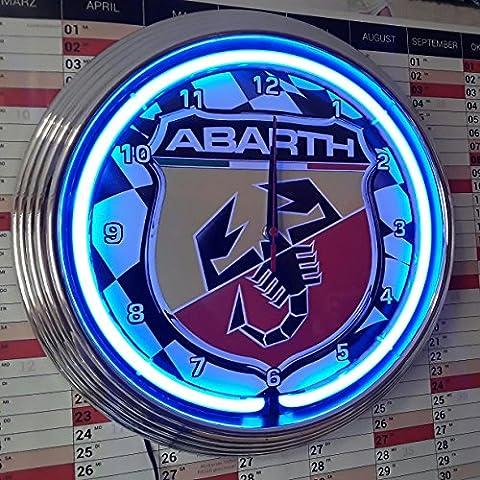 NEONUHR NEON CLOCK ABARTH RACING FLAG 4-- GARAGE SIGN - WANDUHR BELEUCHTET MIT BLAUEN NEON RING!